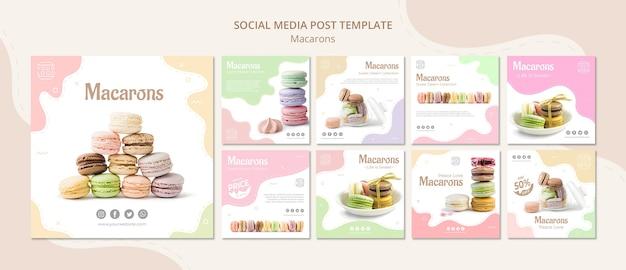 Publicación colorida en redes sociales de macarons franceses