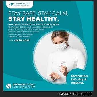 Publicación de coronavirus o plantilla de banner