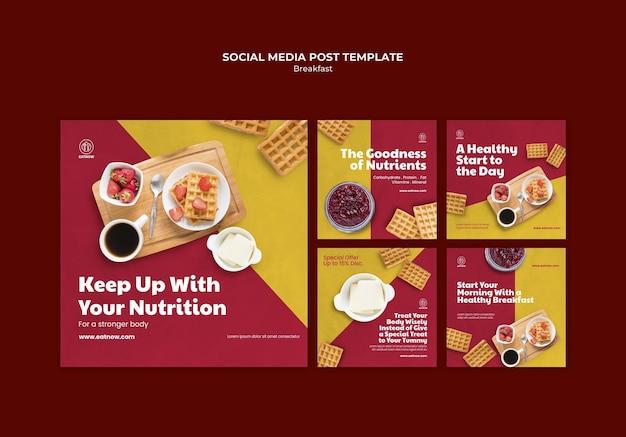 Publicación de desayuno en las redes sociales