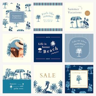 Publicación editable psd de plantilla de anuncio de verano azul