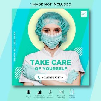 Publicación en instagram de covid-19 social media para su seguridad y producción de coronavirus.