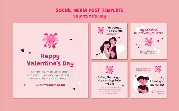 Publicación de instagram ilustrada del día de san valentín