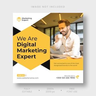 Publicación de instagram de marketing digital y plantilla de banner de redes sociales