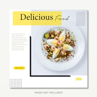 Publicación de instagram o banner cuadrado. comida y restaurante tema premium