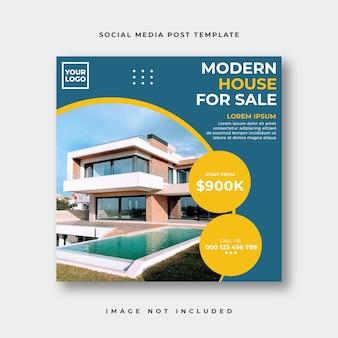 Publicación de instagram de redes sociales de bienes raíces o plantilla de publicidad de banner web cuadrado
