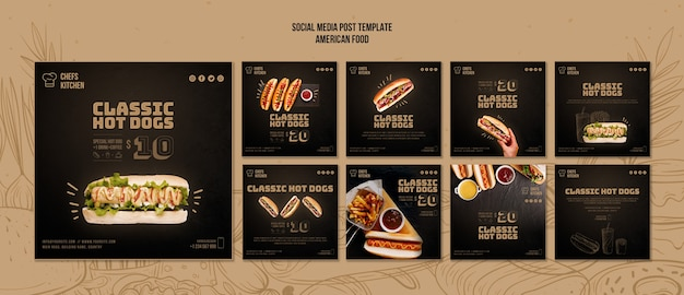 Publicación de medios sociales de hot dogs clásicos estadounidenses