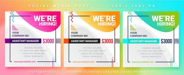 Publicación de medios sociales para vacantes de empleo multipropósito
