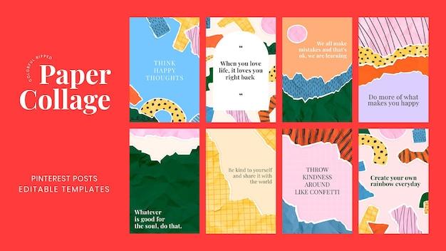 Publicación motivacional de redes sociales psd en conjunto de fondo de collage de papel rasgado