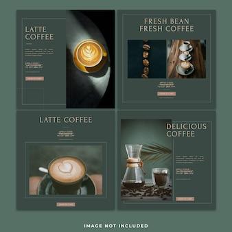 Publicación de paquete de plantilla de instagram de publicación de redes sociales de café