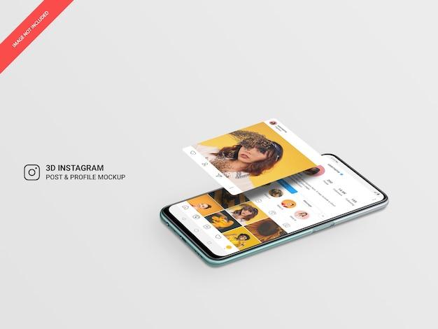 Publicación y perfil de instagram flotando en 3d en maqueta móvil horizontal