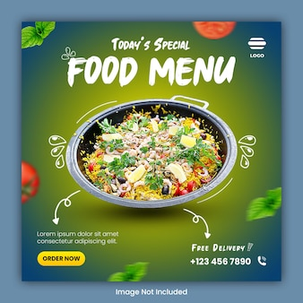 Publicación de plantilla de redes sociales culinarias de alimentos