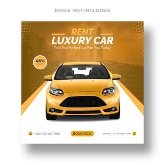 Publicación promocional en redes sociales de alquiler de coches y plantilla de banner de instagram