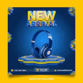 Publicación de redes sociales 3d de nueva llegada de auriculares
