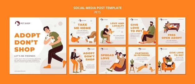 Publicación en redes sociales de adopción de tienda de mascotas