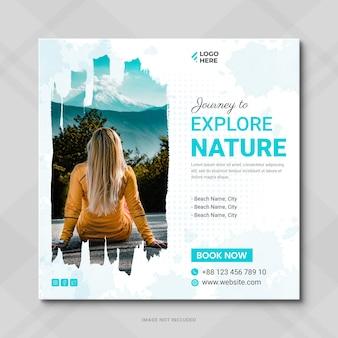 Publicación de redes sociales de agencia de viajes o publicación de instagram de vacaciones de vacaciones de gira