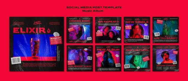 Publicación en redes sociales del álbum de música