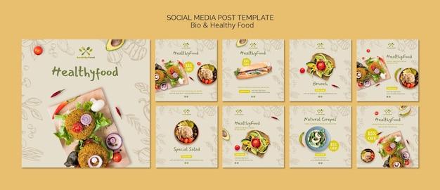Publicación en redes sociales con alimentos saludables y bio
