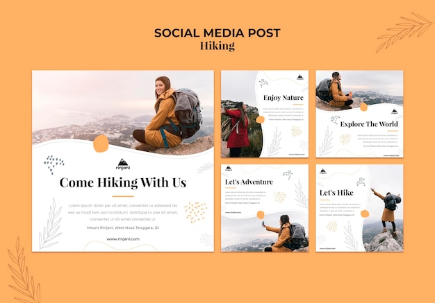 Publicación de redes sociales de aventura de senderismo