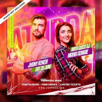 Publicación de redes sociales y banner web de club dj party flyer