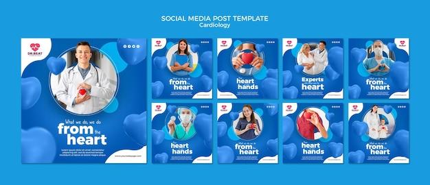 Publicación en redes sociales de cardiología, atención médica