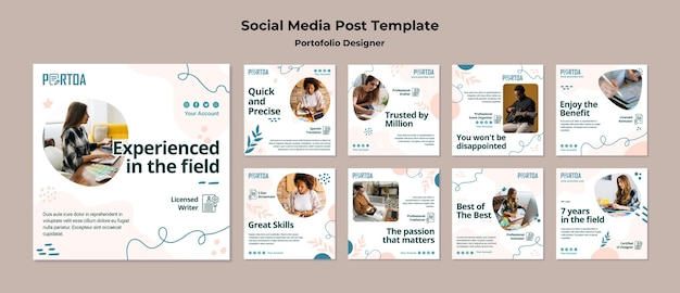 Publicación en redes sociales de la cartera de diseñadores
