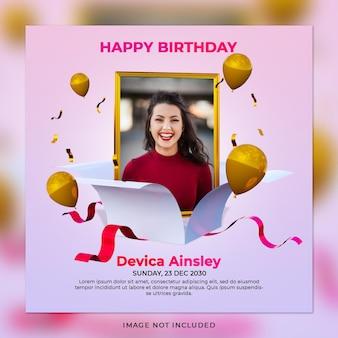 Publicación en redes sociales de celebración de cumpleaños digital