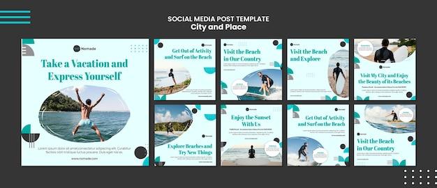 Publicación en redes sociales de la ciudad y el lugar