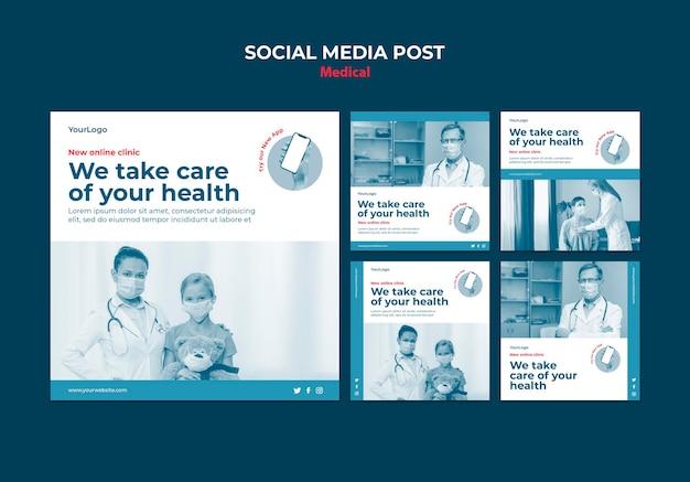 Publicación de redes sociales de clínica médica en línea