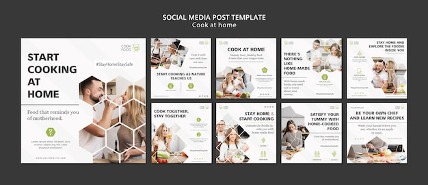 Publicación en redes sociales con cocina en casa
