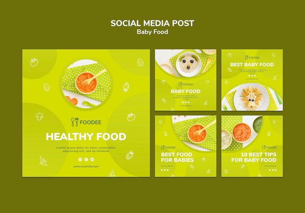 Publicación en redes sociales de comida para bebés