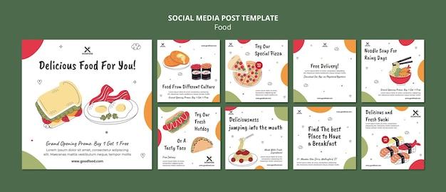 Publicación en redes sociales de comida deliciosa