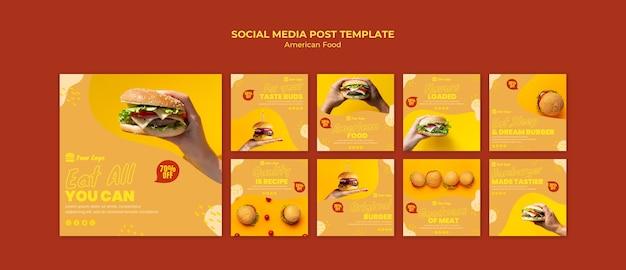 Publicación de redes sociales de comida estadounidense