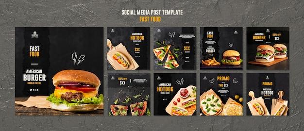 Publicación en redes sociales de comida rápida