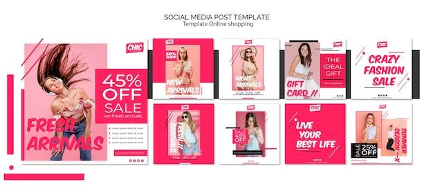 Publicación en las redes sociales de compras en línea