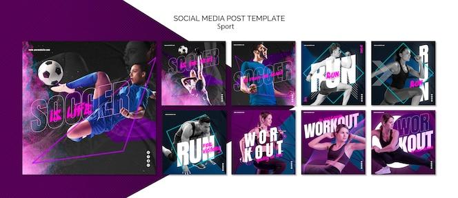 Publicación de redes sociales de concepto deportivo