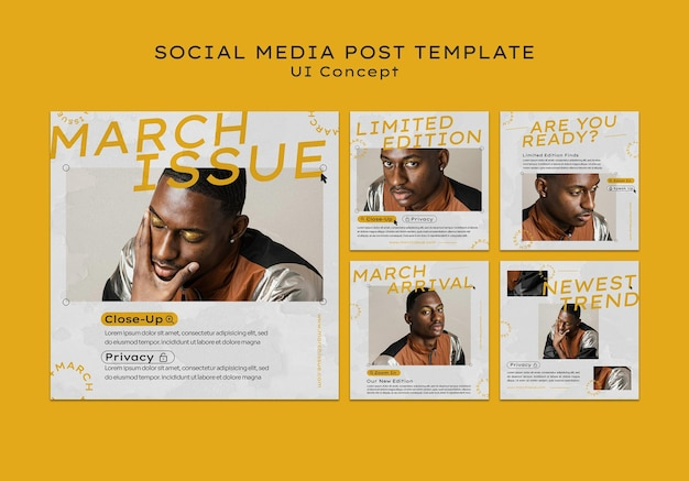 Publicación de redes sociales de concepto de interfaz de usuario