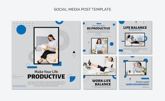 Publicación de redes sociales de concepto de productividad
