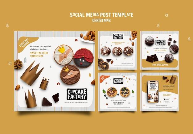 Publicación de redes sociales de cupcakes navideños