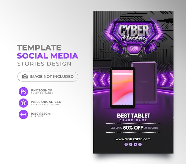 Publicación en redes sociales cyber monday render 3d para instagram con super ofertas y promociones