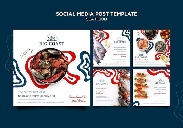 Publicación de redes sociales de deliciosa comida de mar