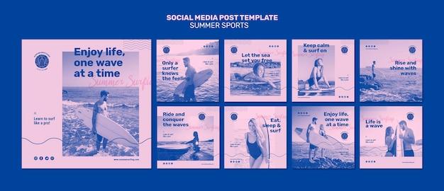 Publicación de redes sociales de deportes de verano