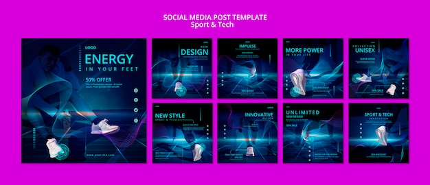 Publicación de redes sociales deportivas y tecnológicas