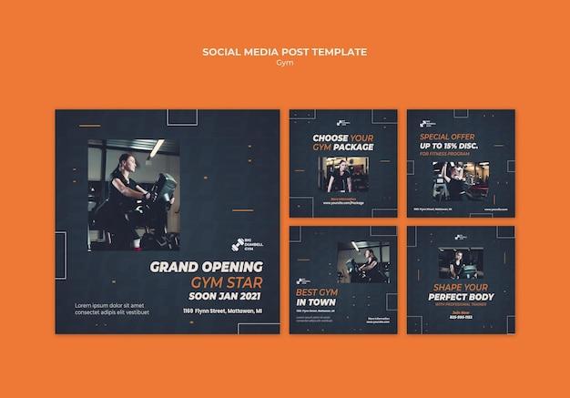 Publicación de redes sociales de diseño de plantillas de gimnasio