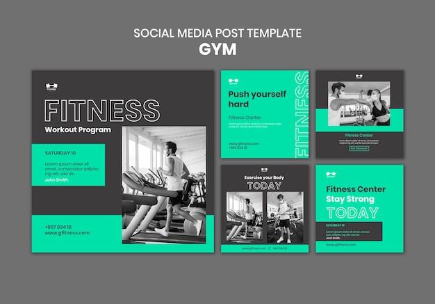 Publicación en redes sociales de entrenamiento de gimnasio