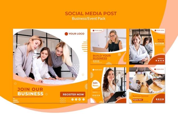 Publicación en redes sociales con equipo de negocios