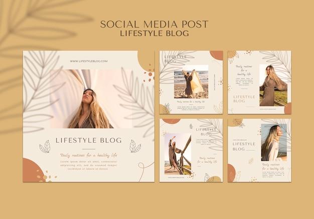 Publicación en redes sociales de estilo de vida de blogger