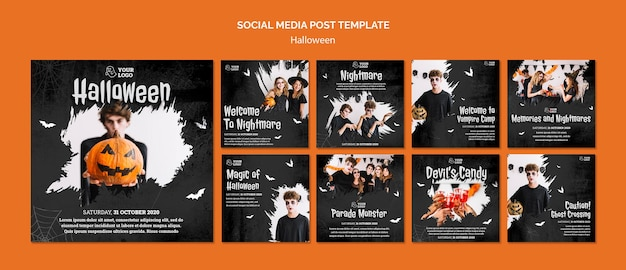 Publicación de redes sociales de fiesta de halloween
