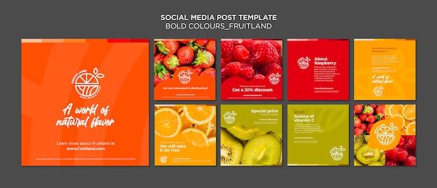 Publicación en redes sociales de fruitland de colores llamativos