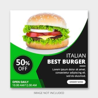 Publicación en redes sociales de hamburguesas italianas