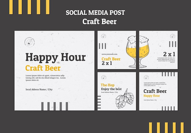 Publicación en redes sociales de happy hour de cerveza artesanal